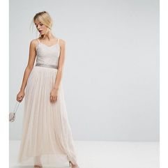 maxi cami strap dress with tulle skirt and embellished upper - brown, Amelia rose