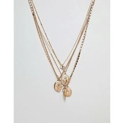 Asos design layered necklace with mixed pendants in gold tone - black