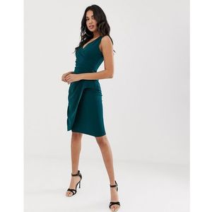Girl In Mind v neck wrap midi dress - Green