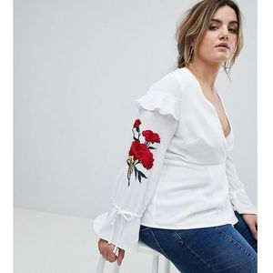 Lovedrobe wrap front top with embroidery - white
