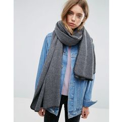 Asos long woven blanket stitch scarf - grey