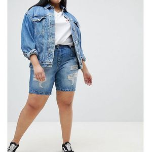 Zizzi Distressed Denim Short - Blue, kolor niebieski