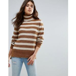 hella striped rollneck mohair wool blend knit jumper - brown marki Pieces