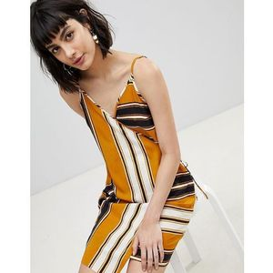 River island wrap front stripe cami dress - yellow