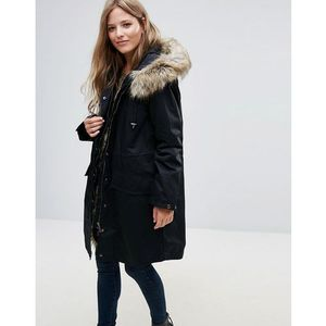 French Connection Frost Faux Fur Trim Hooded Parka - Black, parka