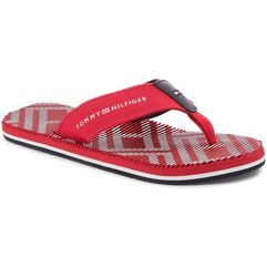 Japonki TOMMY HILFIGER - Corporate Stripe Beach Sandal FM0FM01366 Tango Red 611