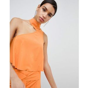 Parallel lines asymmetric choker crop top co-ord - orange