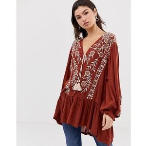 Free people wild dreams embroidered tunic top - red
