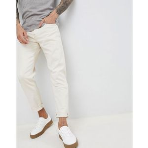 Selected Homme Slim Tapered Jeans In White Denim - White, jeansy