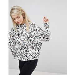 ASOS DESIGN Crop Shirt in Animal Print - Multi