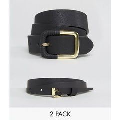 ASOS 2 Pack Skinny Waist Belt and Jeans Belt in Water Based PU - Black