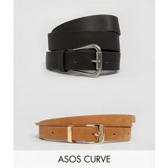 ASOS CURVE 2 Pack Jeans And Skinny Belt Pack - Black