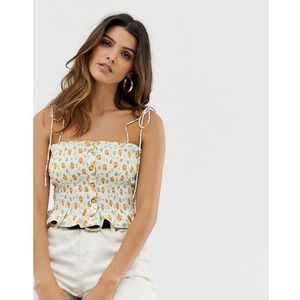 ruched cami top in ditsy floral - cream marki Skylar rose