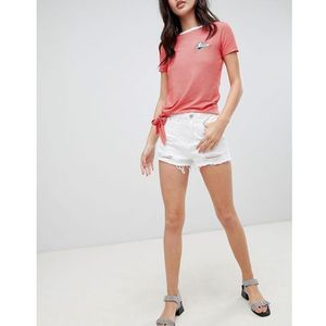 Brave Soul Wendy Denim Shorts with Distressing - White