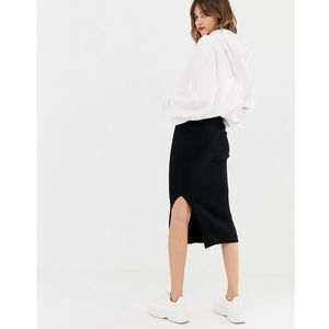 Stradivarius str knitted skirt in black - black