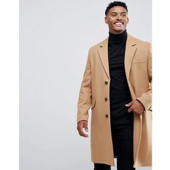 Asos design wool mix overcoat in camel - tan