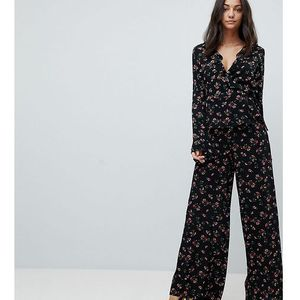 Glamorous tall wide leg trousers in floral print - black