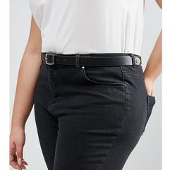 ASOS CURVE Animal Tipped End Boyfriend Waist And Hip Belt - Black