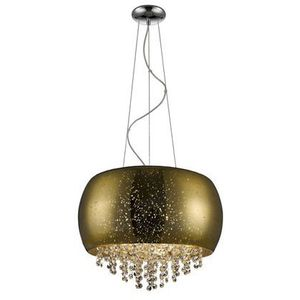 ZUMALINE VISTA LAMPA WISZĄCA LAMP 5*G9 MAX 42W GOLD GLASS SHADE WITH DOTSMETAL CHROME CANOPY P0076-05K (GOLD) (2011004907200)