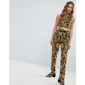 scarf print trouser - black, Love & other things