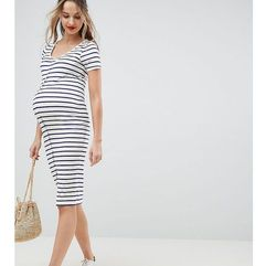 Asos design maternity midi short sleeve bodycon dress with popper front in stripe - multi marki Asos maternity