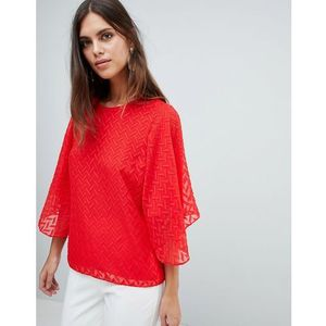 Y.A.S Textured Top With Exagerated Sleeve - Red