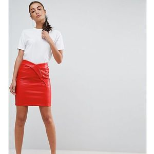 Asos tall textured tulip mini skirt in leather look - red