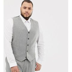 Asos design plus wedding skinny suit waistcoat in grey cross hatch - beige