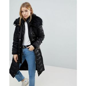Miss Selfridge Faux Fur Collar Longline Padded Coat - Black, kolor czarny