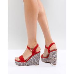 two part wedge shoe in red with textured heel - red marki Aldo