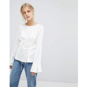 Current air top with flute sleeve detail and lace up - white