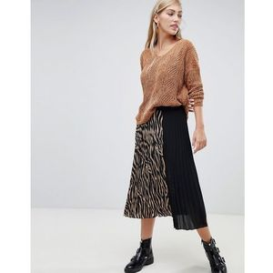 Stradivarius zebra print pleat midi skirt - Multi