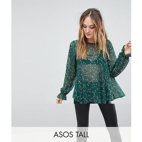 Y.A.S Tall Ditsy Frill Top - Green