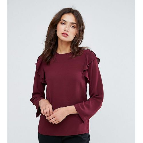 Y.A.S Tall Ruffle Flared Sleeve Top - Red
