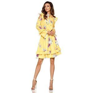 bf7acf16d26e Żółta Wzorzysta Sukienka w Kwiaty z Falbankami Typu Cold Shoulder