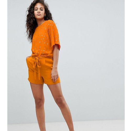 Y.A.S Tall Tie Waist Tailored Short - Orange