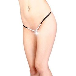 Prezent - Stringi z perełkami Vixson Adjustable Pearl G-String, Kolor: Black (8681863253776)
