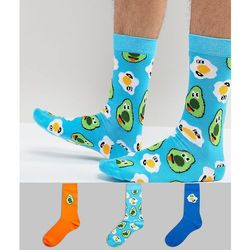 socks with fun brunch design 3 pack - multi, Asos